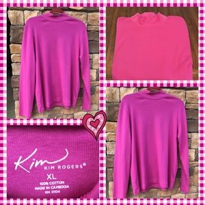 Kim Rogers Mock Turtle Neck Pink XL